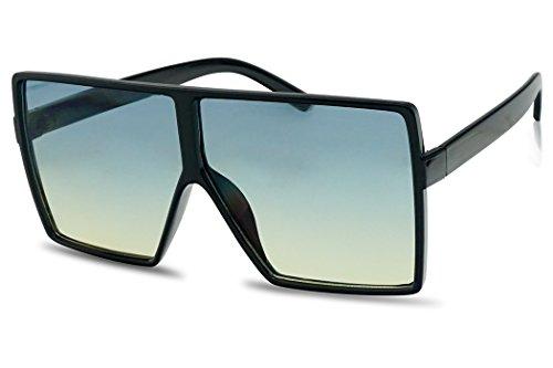 SunglassUP Oversize Square Flat Top Shield Sunglasses Colorful Two Tone Flat Lens Shades (Black Frame | Blue ()