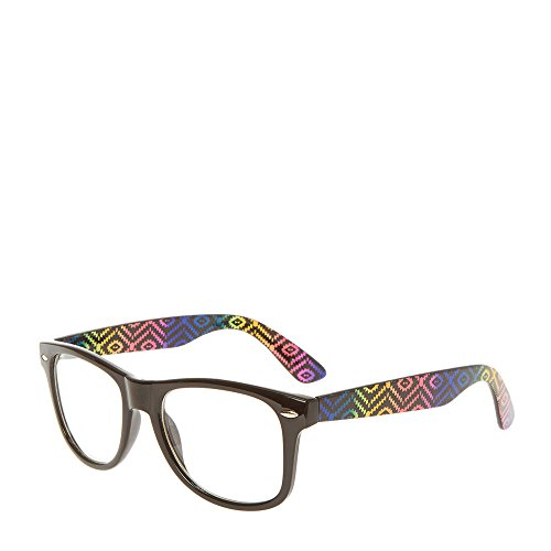 Claire's Girl's Black Retro Glasses With Rainbow Aztec Print - Glasses Aztec