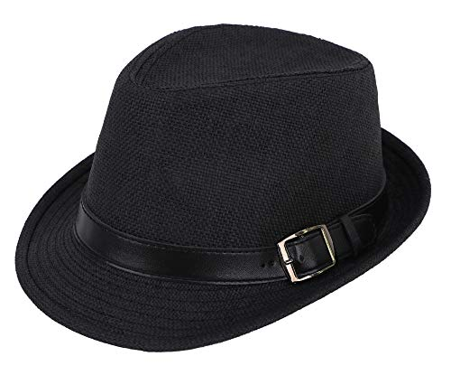 Simplicity Panama Style Fedora Straw Sun Hat with Leather Belt,Black SM