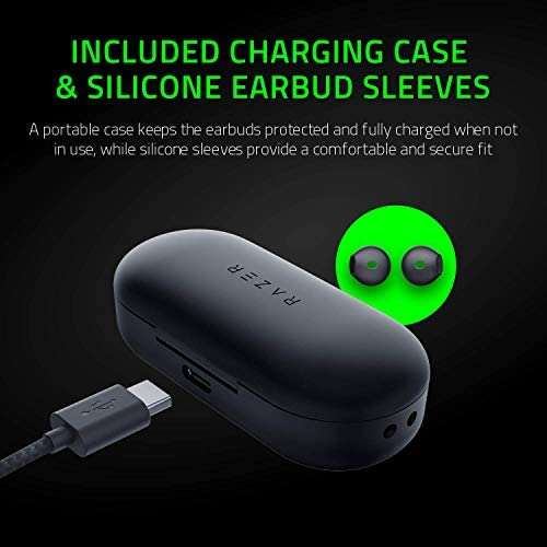 Razer Hammerhead True Wireless Bluetooth Gaming Earbuds: 60ms Low-Latency - IPX4 Water Resistant - Bluetooth 5.0 Auto Pairing - Touch Enabled - 13mm Drivers - Classic Black