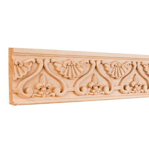 Hand Carved Fleur-de-Lis Frieze Moulding - 8 ft. Length (Cherry)
