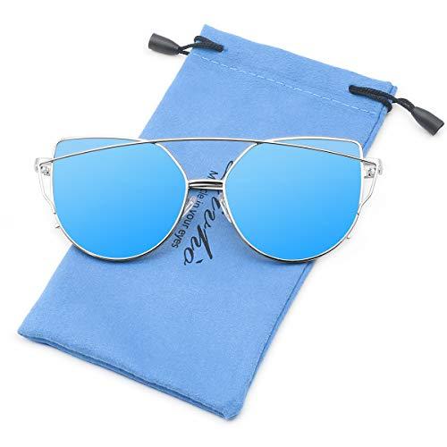 Livhò Sunglasses for Women, Cat Eye Mirrored Flat Lenses Metal Frame Sunglasses UV400 (Silver Dark Blue)