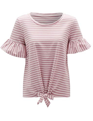 (Romwe Women's Short Sleeve Tie Front Knot Casual Loose Fit Tee T-Shirt Pink)