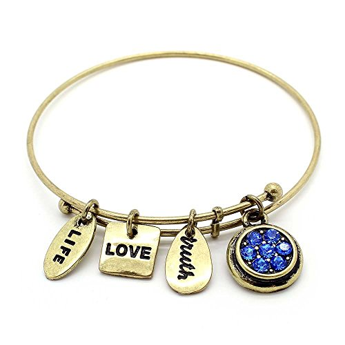 (KIS-Jewelry Symbology 'September' Birthstone Bangle Bracelet, Brass Plated - Expandable Wire Charm Bracelet with Sparkling Sapphire Color Crystals - Perfect Jewelry for Fashion)