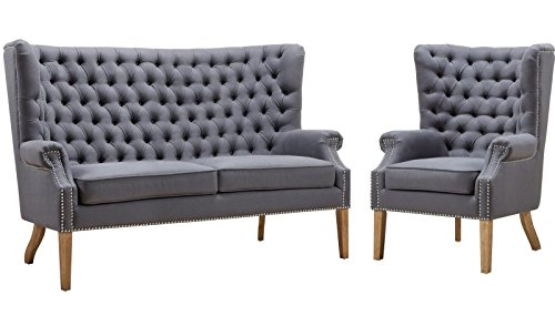 - Tov Furniture The Abe Collection Classic Linen Upholstered Solid Oak 2-Piece Living Room Loveseat and Chair Set, Grey