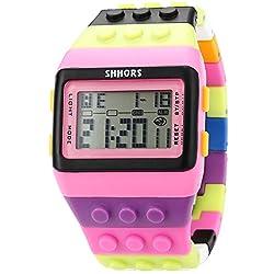 SHHORS Men's Ladies Blocks Constructor Digital LED Backlight Alarm Sport Wrist Watch LED088