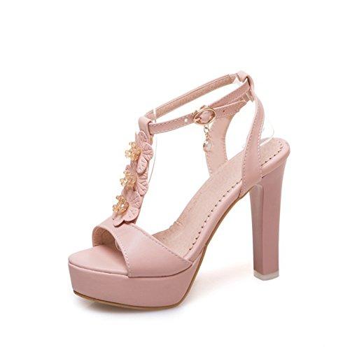 Zapatos Moda de de Mujer para de Grueso de señoras de tacón Plataforma Sandalias Las al Hebilla tacón Zapatos Hebilla Primavera Cuero Verano de el Vestido Libre Aire sintético FBqFxdw5