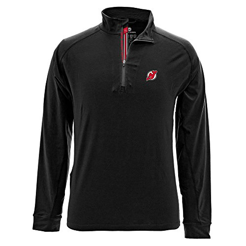 Levelwear LEY9R NHL New Jersey Devils Men's Peak Banner Stripe Quarter Zip Mid-Layer Jacket, XX-Large, Black