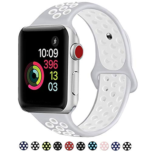 (DOBSTFY Sport Bands 38mm 40mm,Soft Silicone Sport Band Replacement Wristband Compatible for iWatch Series 1/2/3/4, Ni ke+, Sport, Edition, 38mm 40mm S/M - Pure)