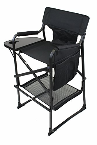 World Outdoor Products Lightweight PROFESSIONAL EDITION Tall Directors Chair with CUSTOM ZIPPERED Storage Bag, Side Table with Built-In Cup Holder REMOVABLE PATCH on Chair Back. by World Outdoor Products (Image #2)
