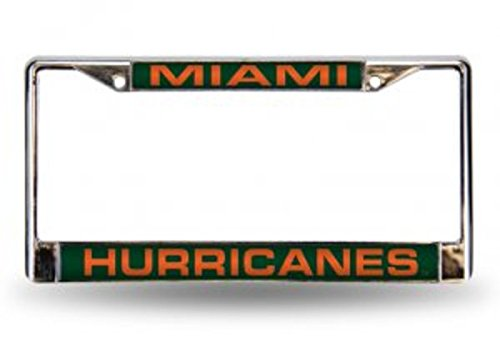 Rico Industries NCAA Miami Hurricanes Laser Cut Inlaid Standard Chrome License Plate Frame