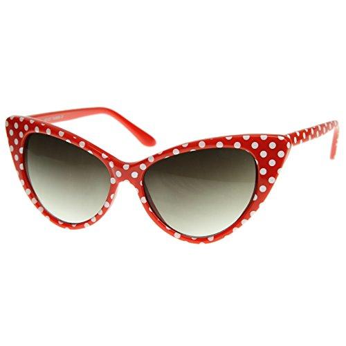 zeroUV - Polka Dot Cat Eye Womens Mod Fashion Super Cat Sunglasses (Red White-Dots) (Cat White Red)