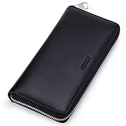 HISCOW Metal Zipper Long Wallet Black with 2 Cash Compartment - Italian Calfskin