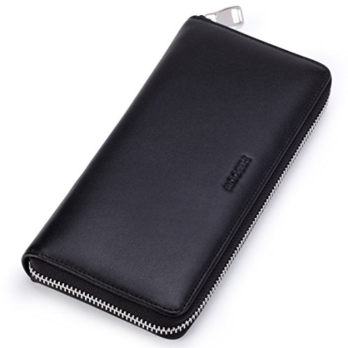 (HISCOW Metal Zipper Long Wallet Black with 2 Cash Compartment - Italian)