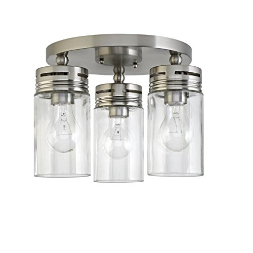 allen + roth Vallymede 12-in W Brushed nickel Standard Flush Mount Light