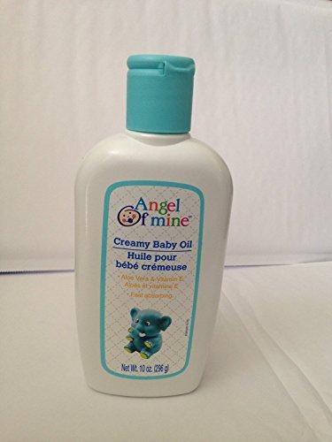 Creamy Baby Oil with Aloe Vera & Vitamin E - 10 oz,(Angel of Mine) (Pack of 2)