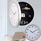 Nesee Hidden Compartment Wall Clock,10'' Battery Operated Working Analog Clock with Secret Interior Storage for Jewelry, Cash, Valuables and More by Stalwart