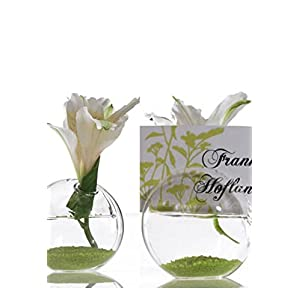 """8 Blossom Glass Name Card Holders 2.5"""" - Excellent Home Decor - Outdoor Indoor 36"""