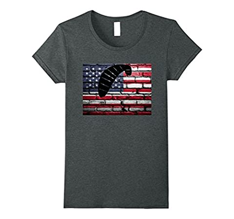 Womens American Flag Paragliding Gliding Sports Vintage T-Shirt Large Dark Heather (Relaxed Fit In Los Angeles Dark)