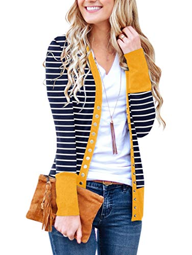 PAPOSON Women's Button Down Front Long Sleeve Striped Cardigan V-Neck Casual Sweaters Knitwear (Navy Stripe-Yellow,S)