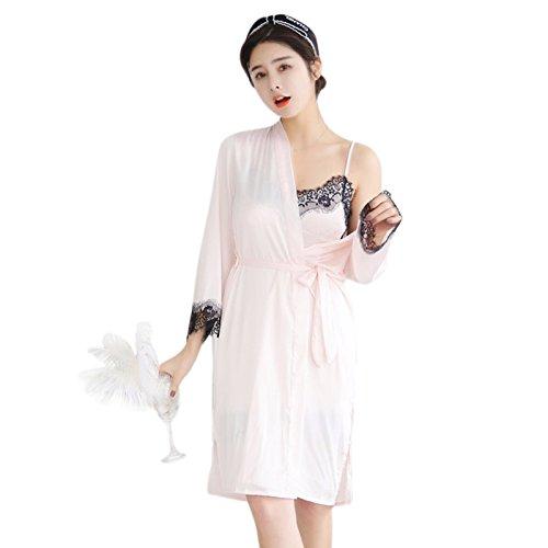 Cikuso Trajes de Pijama de Seda Para Mujer Ropa de Casa Sexy de Otono Batas Pijama Sujetador desmontable Rosado L: Amazon.es: Ropa y accesorios