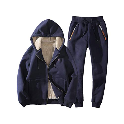 Men's Winter Tracksuit Sets,Thick Coat,Sweatshirts Jacket+Pant Men Casual Hooded Warm Sweatshirt Male Outwear (Color : Blue, Size : XL)