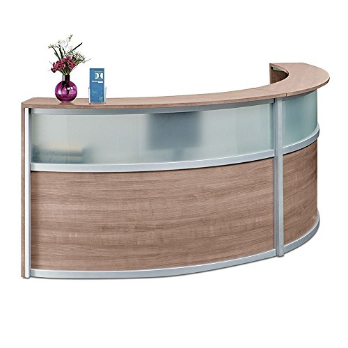 Double Curved Reception Desk with Glass Panel - 123''W x 48''D Stone Walnut Laminate/Silver Trim Dimensions: 123''W x 48''D x 45''H Weight: 338 lbs.Line Drawing by NBF Signature Series
