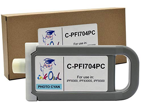 (InkOwl Compatible Ink Cartridge Replacement for Canon PFI-704PC (700ml, Photo Cyan) for iPF8300, iPF8300S, iPF9300 Printers)