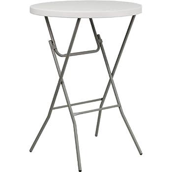 Flash Furniture 32u0027u0027 Round Granite White Plastic Bar Height Folding Table