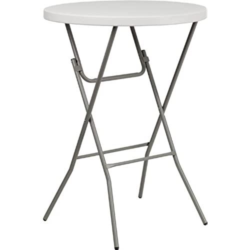 Flash Furniture 32u0027u0027 Round Granite White Plastic Bar Height Folding Table