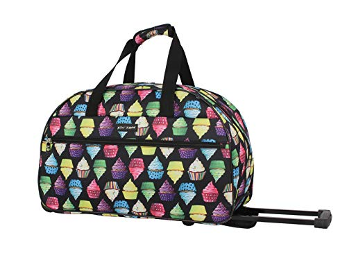 Betsey Johnson Luggage Designer Pattern Suitcase Wheeled Duffel Carry On Bag (One Size, Cupcake)]()