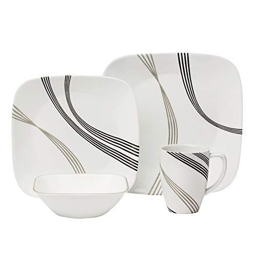 Corelle Boutique Square Urban Arc 16-Piece Dinnerware Set, Service for 4 (Dinnerware Corelle Square)