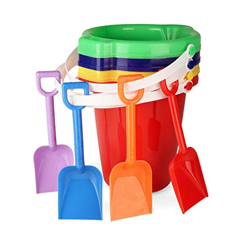 Neliblu Kids Beach Play Toy Sets, Sand Pails Buckets with Shovels Pool Party Toys 7.5