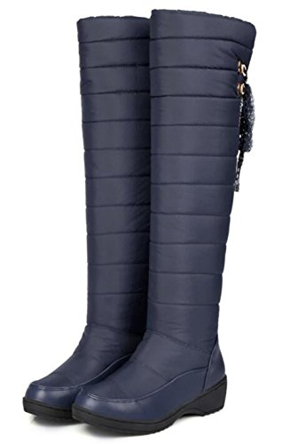 Platform 2 Blue1 Lightweight Women' 5 Wedge Knee Waterproof Over Slip Winter Size 9 Snow GFONE The Boots Boots On Warm 5 X7awqRR1x