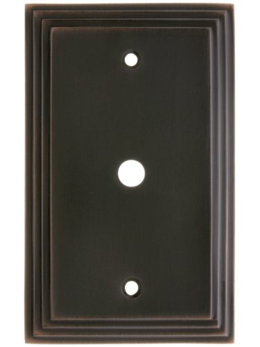 Brass Jack Bronze - House of Antique Hardware R-010II-MCSP-C-OB Mid-Century Cable Jack Cover Plate - Single Gang in Oil Rubbed Bronze