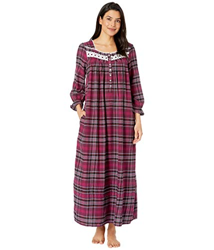 Eileen West Plaid Lawn Ballet Flannel Nightgown, L, Holiday Plaid (West Eileen Gowns Flannel)