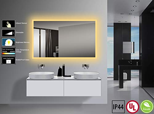 Yukon 40x24 inch Large LED Lighted Wall Mounted Bathroom Mirror with Infrared Sensor Switch. High Lumen+CRI>90, Dimmable Warm White/Daylight+IP44 Waterproof+Vertical & Horizontal+Eco-Friendly Mirror