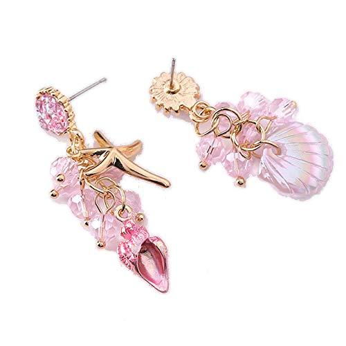 - Shining gems Seashell Marine Summer Vacation Ocean Stud Type Drop Earring (Pink)
