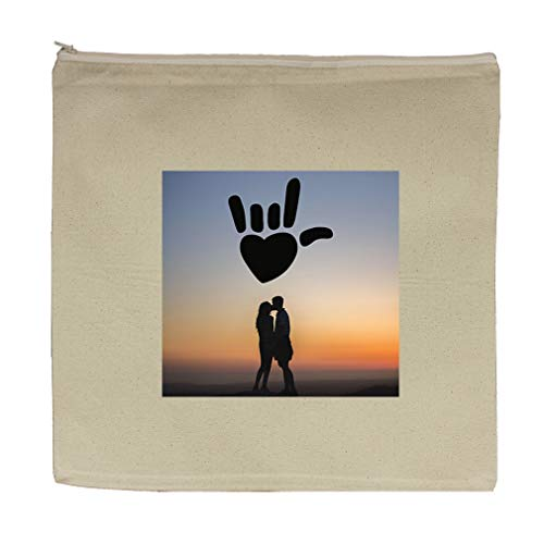 Couple in Nature Cotton Canvas Zipper Tote Bag Makeup Bag 7.5''x5.5'' by Style In Print