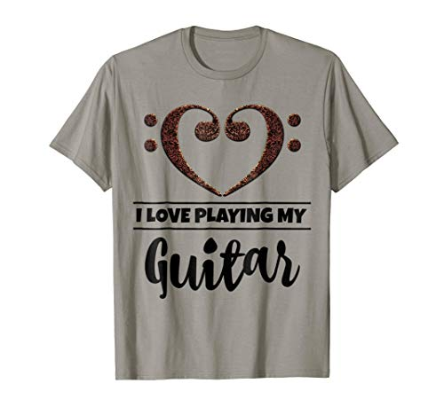 Double Bass Clef Heart I Love Playing My Guitar Music Lover T-Shirt