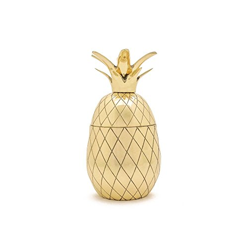 W&P MAS-PINEG-12 Pineapple Tumbler, Craft Cocktail Glass, Mid Century Modern Designer Bar Accessories, Gold, 12 oz