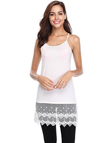 Hawiton Women's Spaghetti Strap Lace Tank Top Cami Shirts Side Split Tunics Dress Shirt