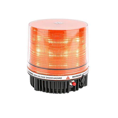 LE-JX Amber Wireless Rotating Beacon Orange Battery Led Strobe Warning Light Roof Top Plow Hazard Flash Emergency Mail Lights 12 V with Magnetic Base Mount and Rechargeable Plug (Yellow, 18 LED)