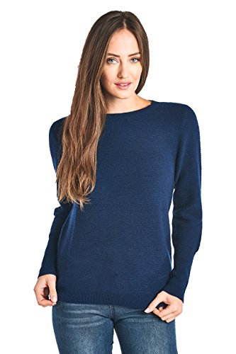 Mariyaab Women's 100% Cashmere Long Sleeve Crew Neck Sweater (T616B, Peacoat, ()