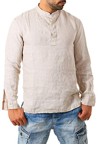 Karlywindow Mens Cotton Solid Long Sleeve Henley Shirts Crew Neck Buttons Up Fashion T Shirt Beige