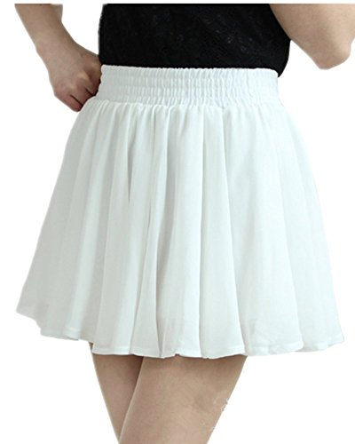 Mullsan Womens' Pleated Chiffon Mini Skirt w/ Safety Shorts (White)