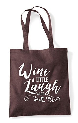 Lot A Little Laugh Shopper Statement Wine Bag Brown Tote 7tpqg7Pw