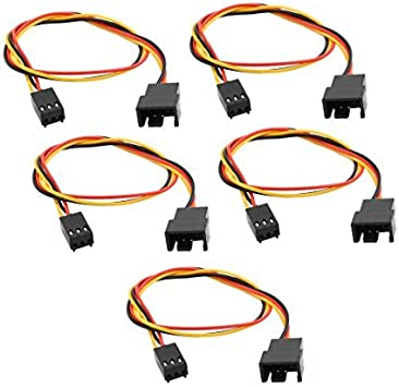 DealMux 5 Pcs 3 Cables 3 Pin Hembra a Macho PC de enfriamiento ...
