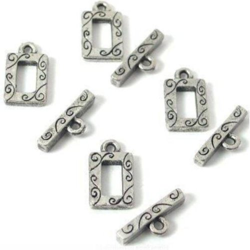 - 4 Bali Toggle Clasps Rectangle Antique Necklace Parts