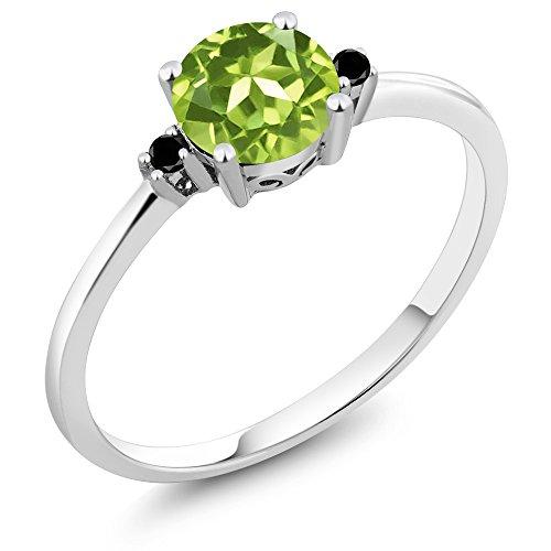 10K White Gold Black Diamond Accent 3 Stone Ring Round Green Peridot (0.88 cttw)